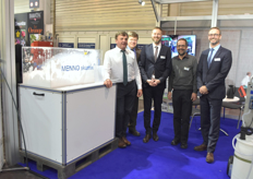 The Menno team showing the disinfection Menno foam.
