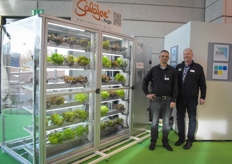 Dominik Bretz & Thomas Hain with RAM Group, showing the SalaJoe to go, a vending machine for hydroponic lettuce
