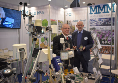 Tino Mosler & Helmut Bergemann with MMM Technologies, showing the sensors with H20, PH, EC and many more things to measure.